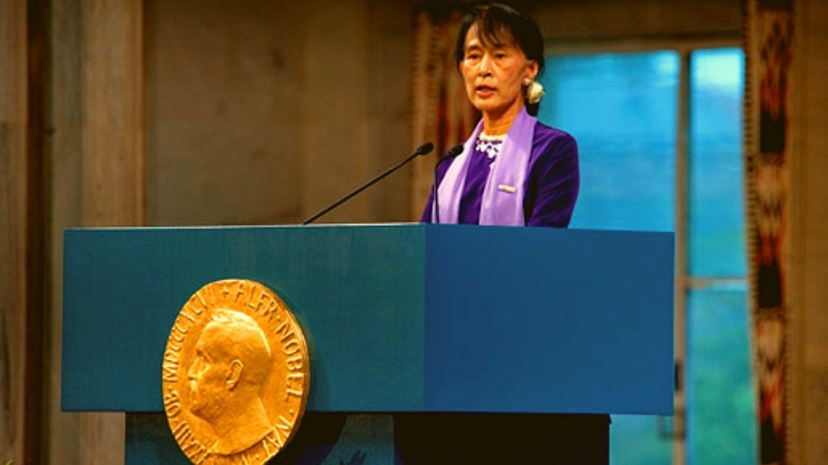 Aung San Suu Kyi delivering her Nobel Lecture in the Oslo City Hall, 16 June, 2012.