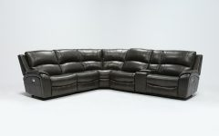 Travis Dk Grey Leather 6 Piece Power Reclining Sectionals with Power Headrest & Usb