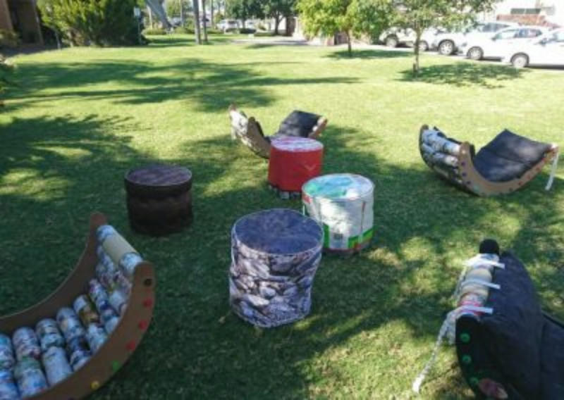 Ecobrick 'Foops' and rocking chairs - Stirling Primary School, South Africa