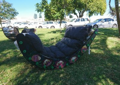 Ecobricks put to use to make an outdoor rocking chair in South Africa