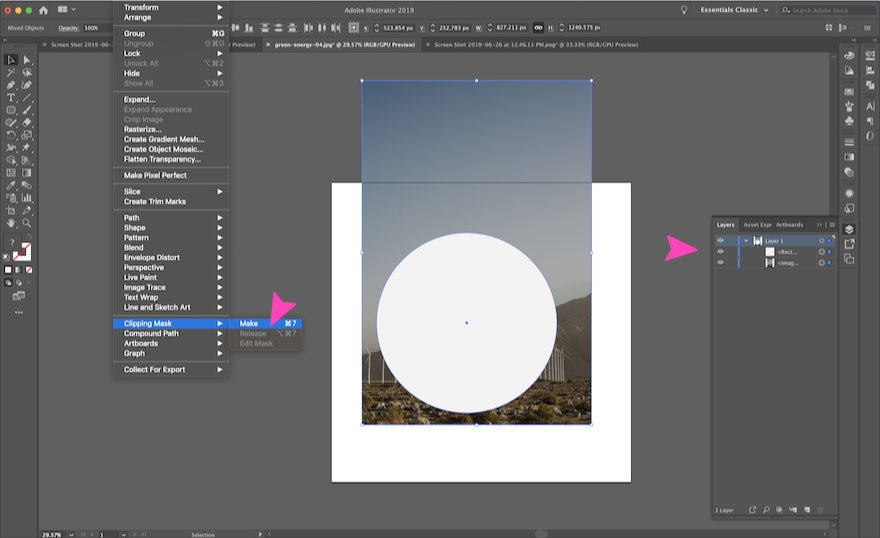 screenshot of adobe illustrator - make a clipping mask