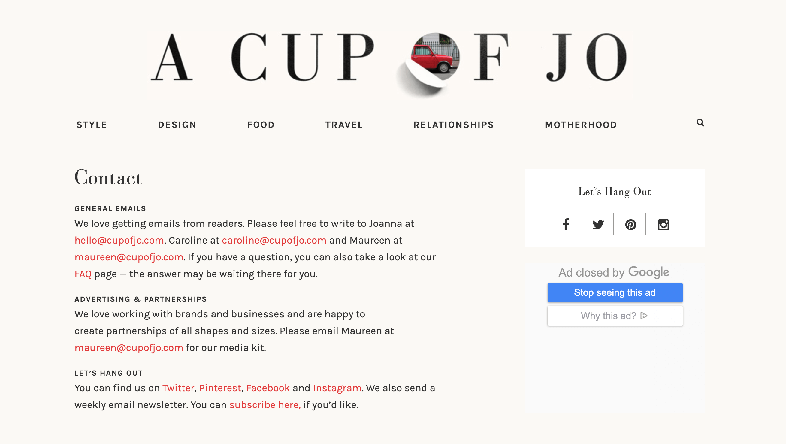 The Cup of Jo blog contact section for advertising and partnerships.