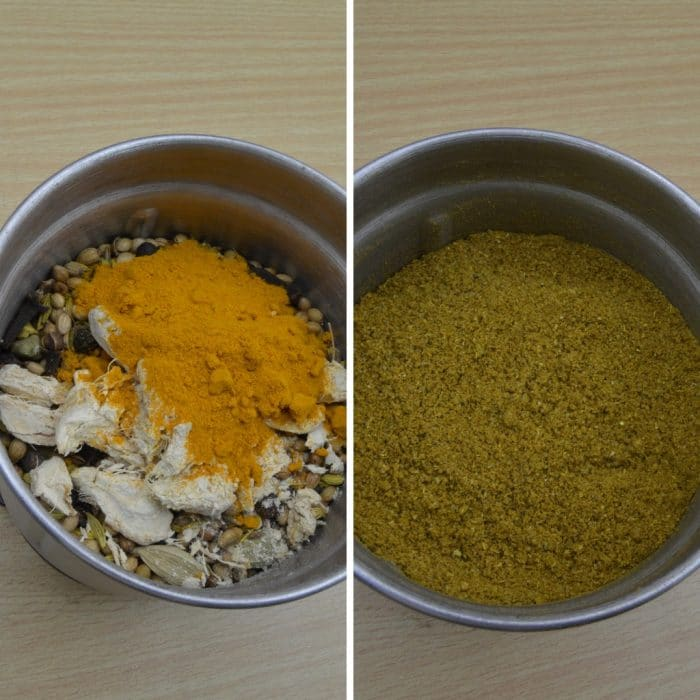 spices in a blender before and after grinding