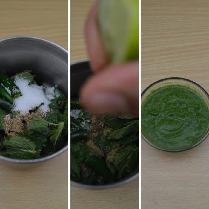 herbs and salt in a blender with lemon squeezing on it and herb paste