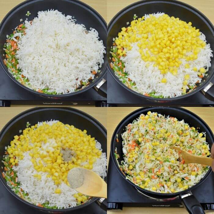 process shot of mixing rice, corn and spices to make fried rice.