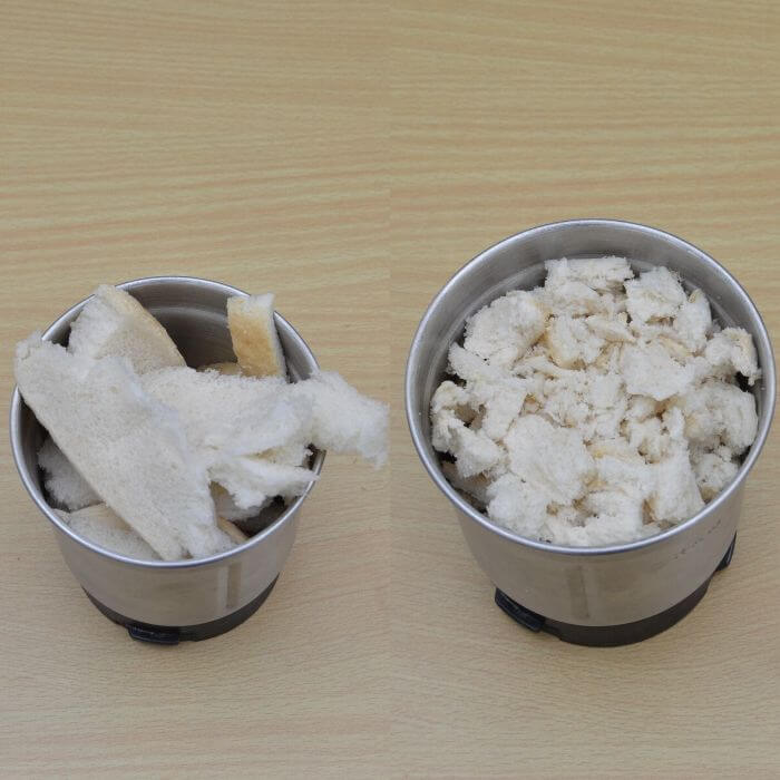 process shots of bread crumble in a blender.
