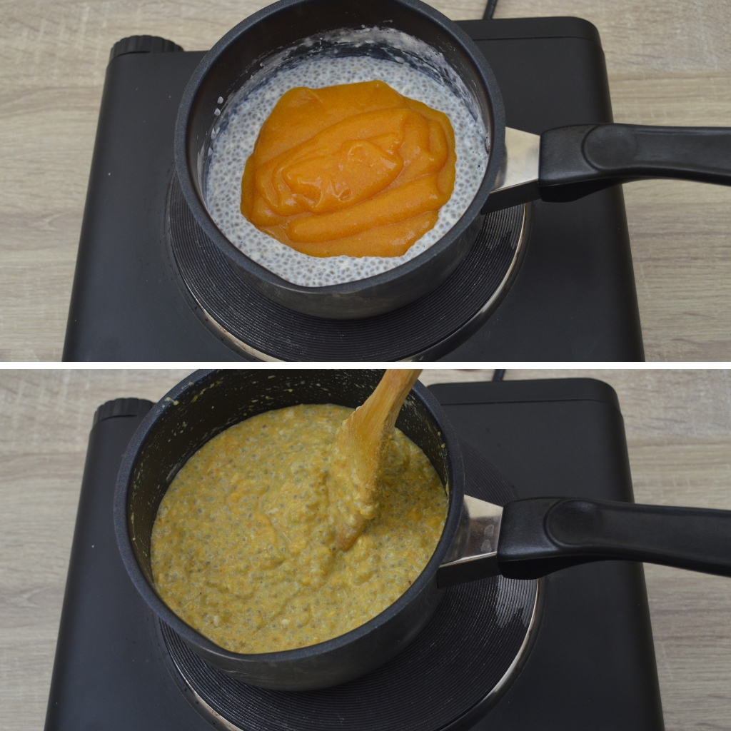 adding persimmon puree and mixing