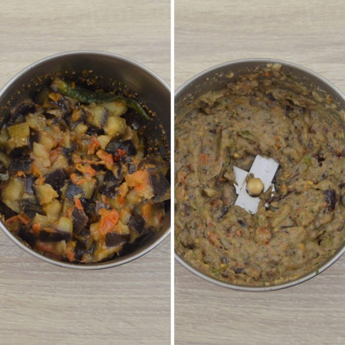 cooked vegetables in grinder before and after grinding them