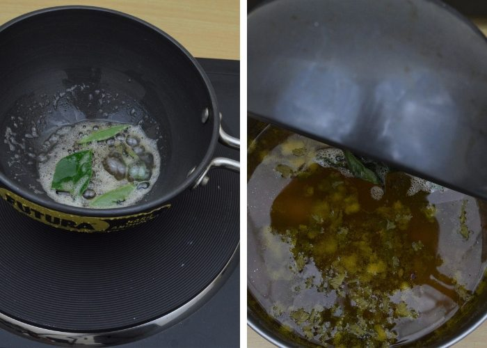 seasoning curry leaves in ghee in a black pan and adding the same to cooked dal rasam
