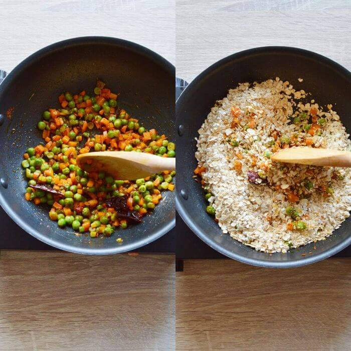 process of cooking spices and oats to make savoury oats porridge.