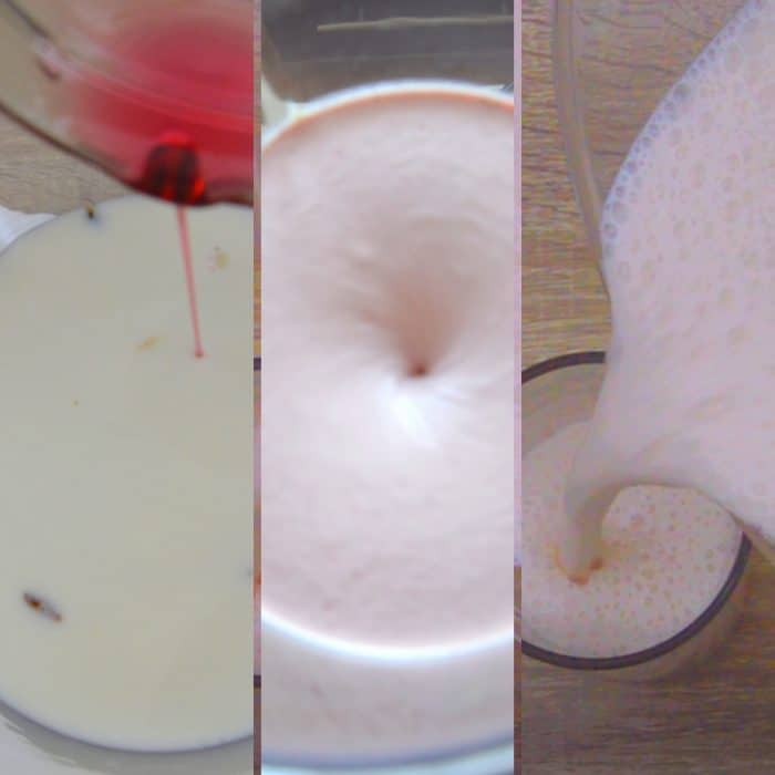 blending yogurt with rose syrup and pouring lassi in a glass