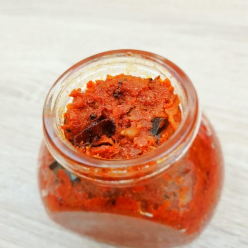mango chutney in a glass jar