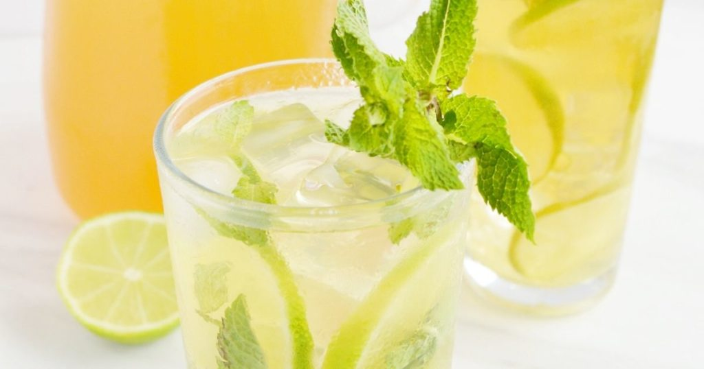 iced green tea in a glass.