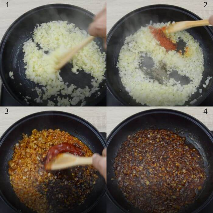 process of making honey garlic sauce.