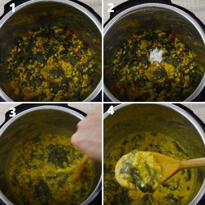 well cooked dal palak in instant pot.