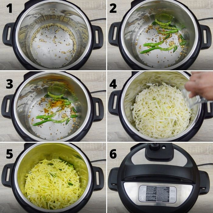 process of sauting spices in instant pot to make cabbage poriyal.