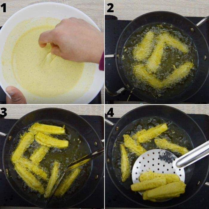 process of frying battered paneer.