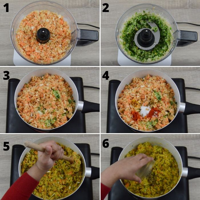 process of mincing and cooking vegetables with spices.