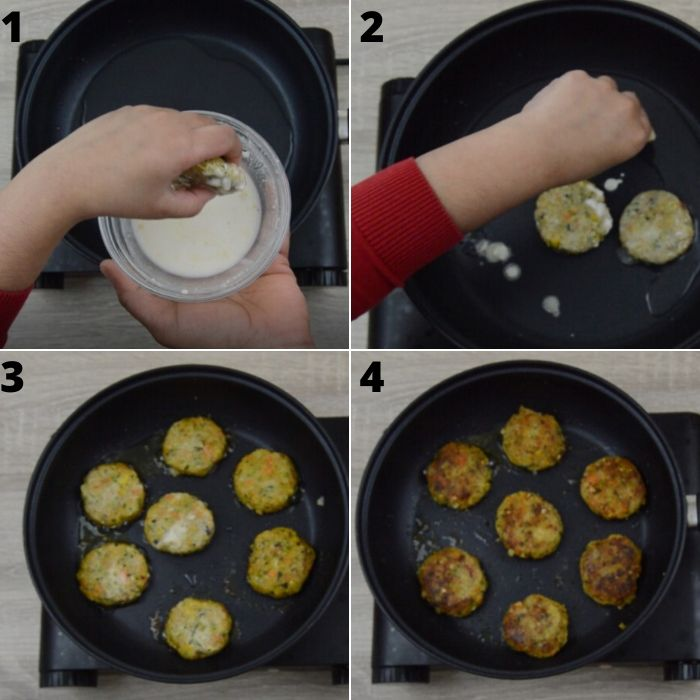 process of frying chickpea veggie patties on a shallow black pan.