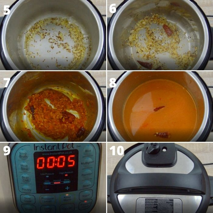 process shots of cooking vegetables, spices, rice and lentils in instant pot.