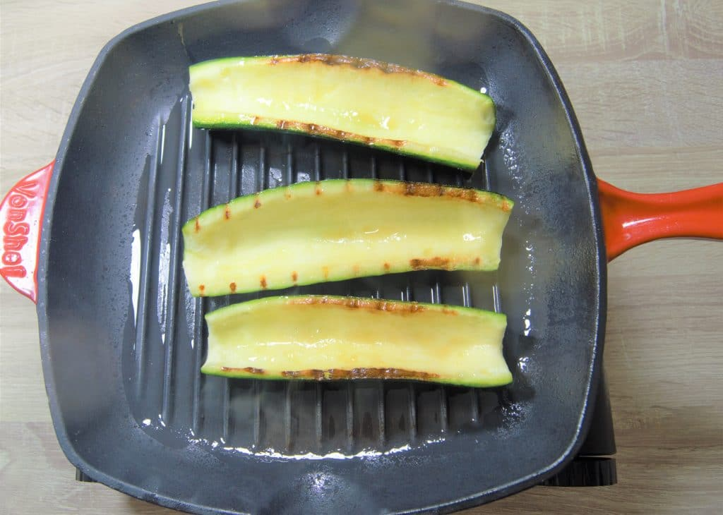 cooking zucchini boats in griddle