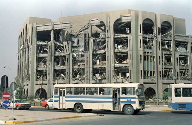 The bombed out Ministry of Interior in the Iraqi Capital Baghdad, March 1991. Ph. Norbert Schiller