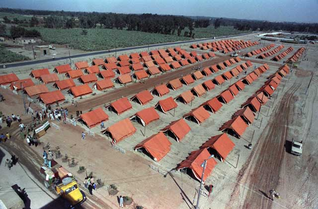 :  A tent city is set up for 12th of October 1992 earthquake victims that killed hundreds and made another 50'000 homeless.