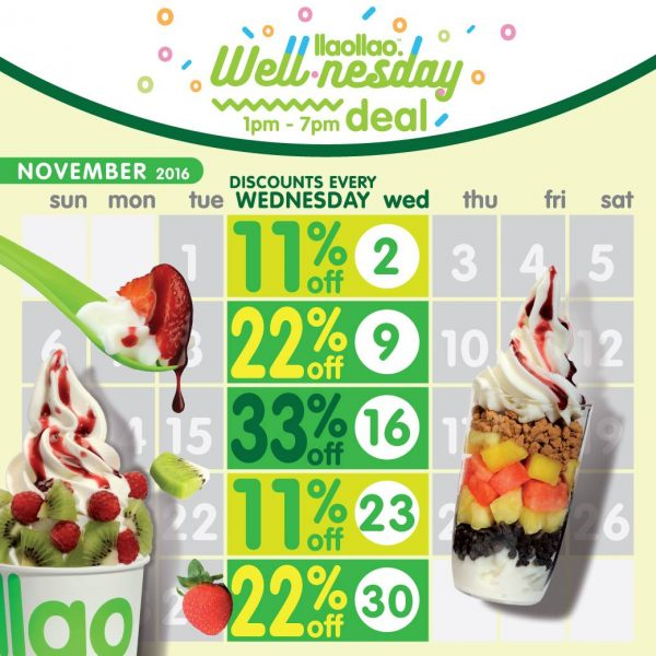 Llaollao Wednesday Promotion - Wellnesday 33% OFF 2016