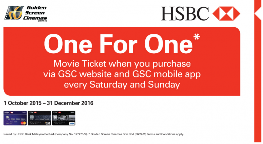 GSC Promotion 2016 - HSBC 1-for-1 Weekend Deal