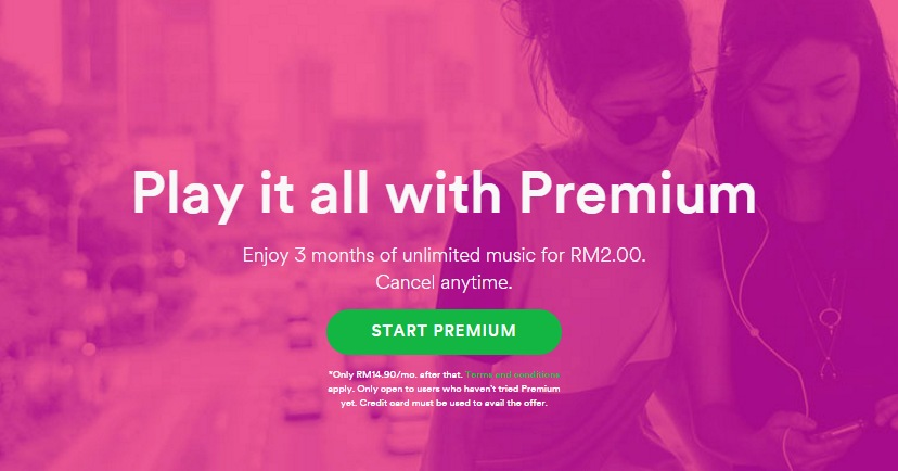 Enjoy 3 months of Spotify Premium for RM2