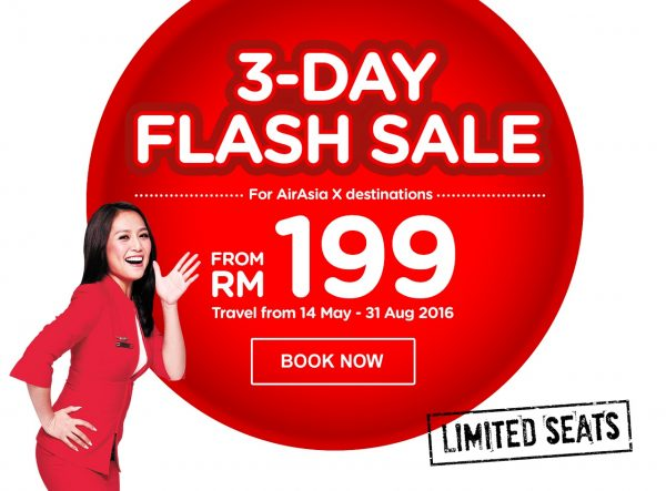 AirAsia 3 Days Flash Sales for AirAsiaX
