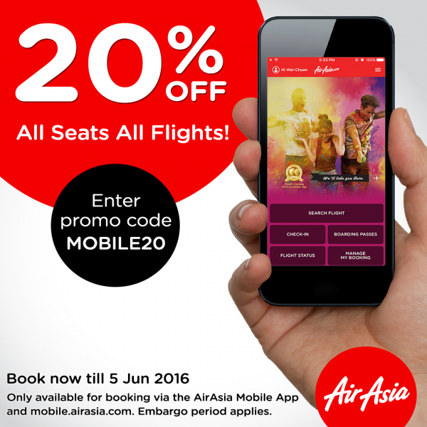 AirAsia mobile promo - 20% OFF All seats, All flights