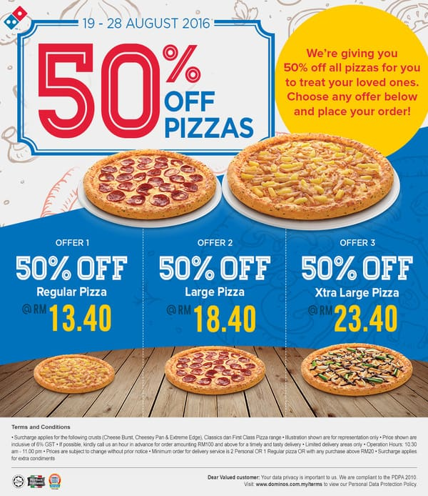 Domino's Pizza 50% Discount Promotion on all Pizza