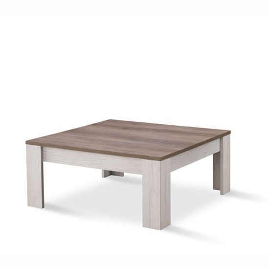 Alpina Coffee Table Square In Oak With Distressed Effect Top