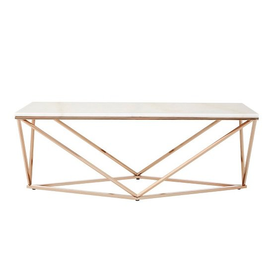 Armenia Faux Marble Coffee Table In White And Champagne Gold