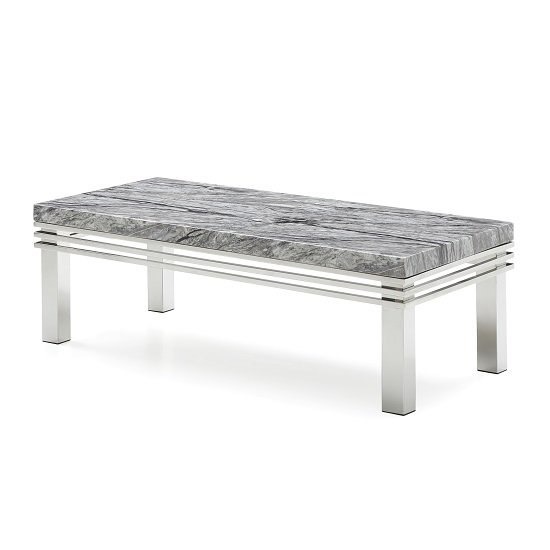 Cotswold Marble Top Coffee Table In Grey With Steel Legs