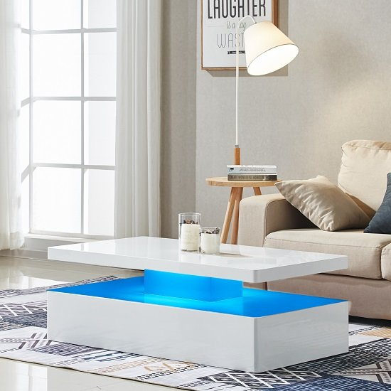 Quinton Modern Coffee Table In White High Gloss With Led