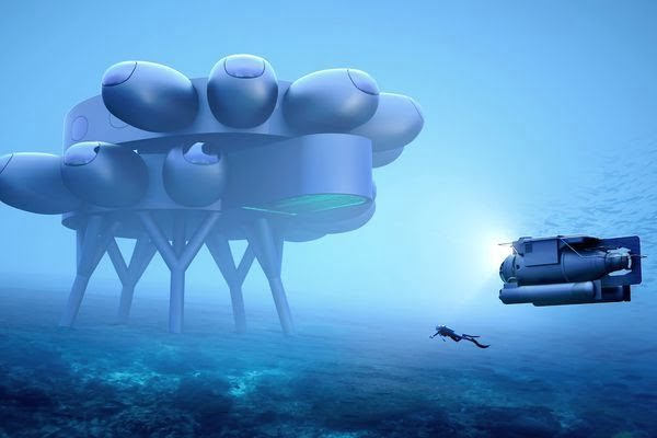 A reconstruction of the Proteus underwater laboratory, Cousteau's project for a real underwater space station