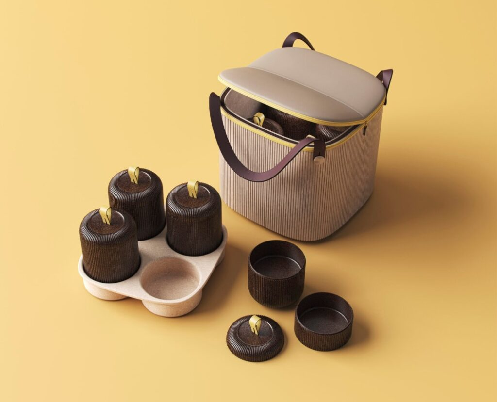 Remade, recycled cocoa beans for takeaway containers