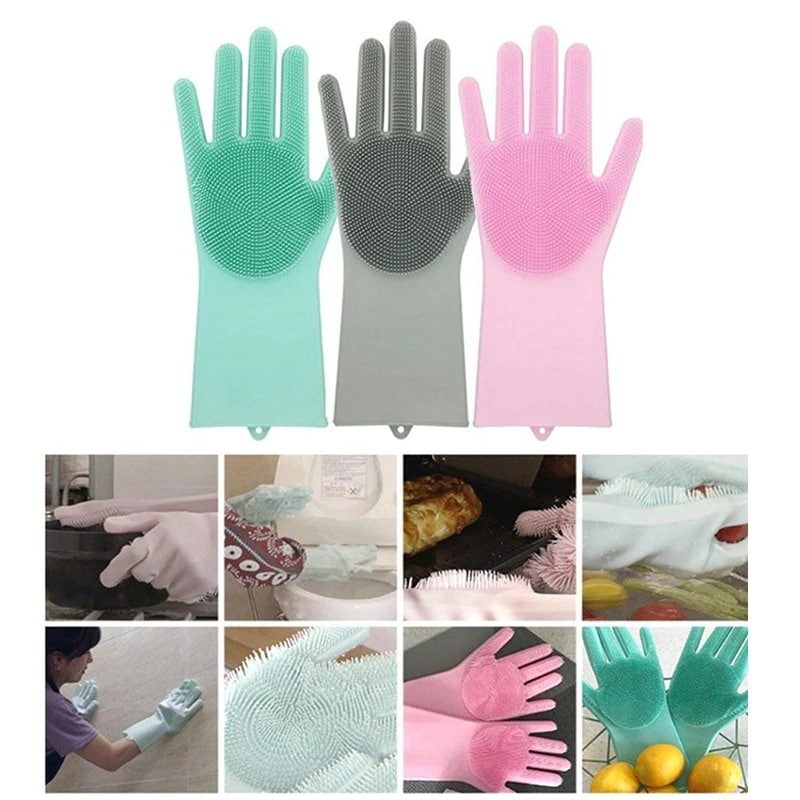 A Pair Magic Silicone Scrubber Rubber Cleaning Gloves Dusting|Dish Washing|Pet Care Grooming Hair Care