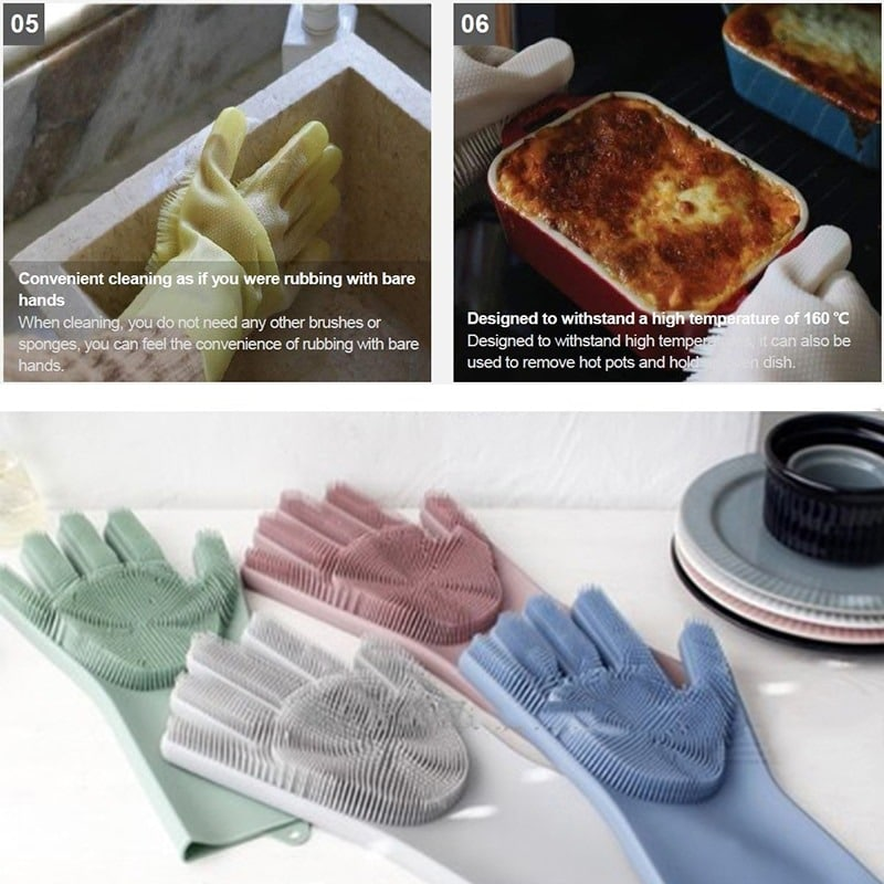 a pair magic silicone scrubber rubber cleaning gloves dusting|dish washing|pet care grooming hair car|insulated kitchen helper