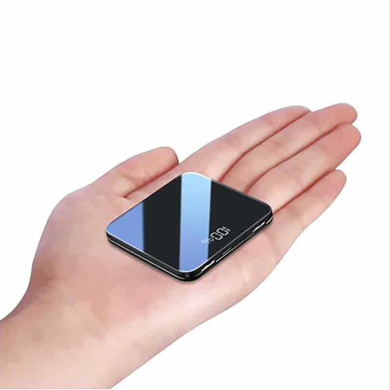 3 in1 Built-in Line Mini 8000mah Power Bank With Thin Mirror Screen And Fast Charging