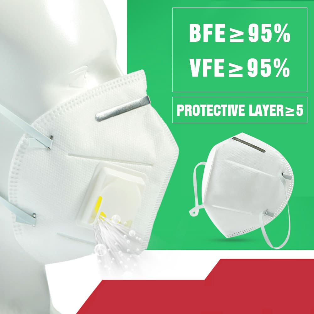 5PCS N95 Mask with 6 Layers Filter and Respiratory Valve for Bacterial Flu and Virus Protection 7