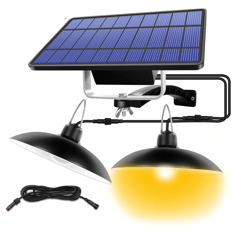 Single and Double Head Solar Pendant Light for Outdoor and Indoor With White and Warm White Lighting