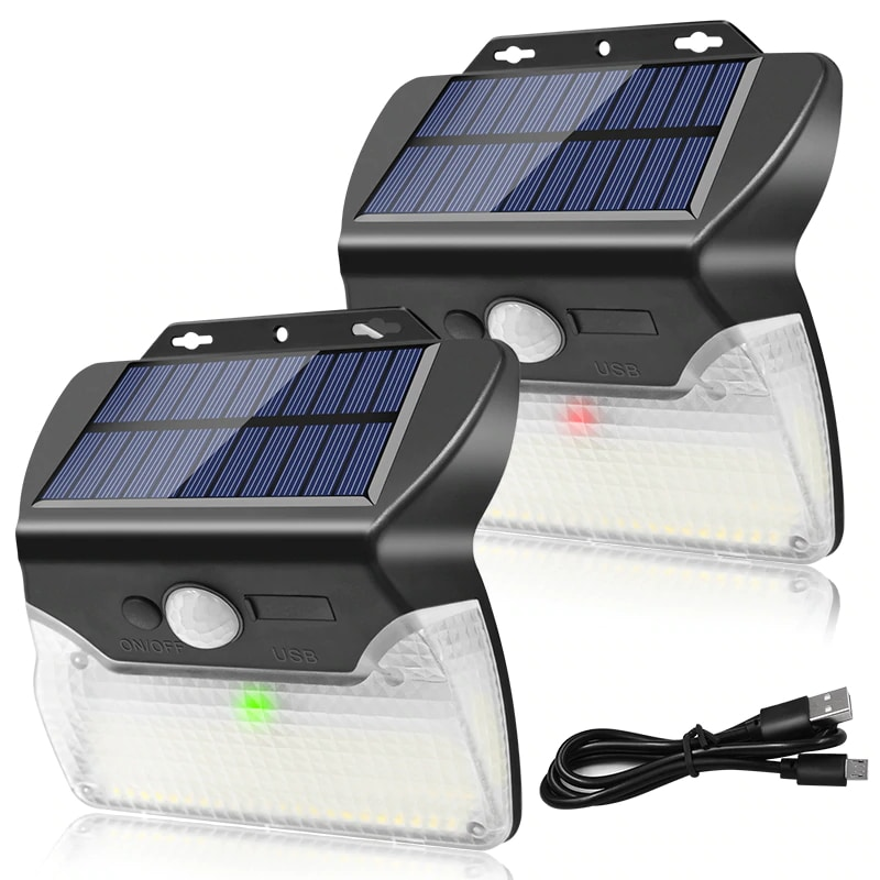 Solar and USB Powered Outdoor Light with 110 LEDs in 3 Lighting Modes and 90 to 120 Degree Sensor Angle