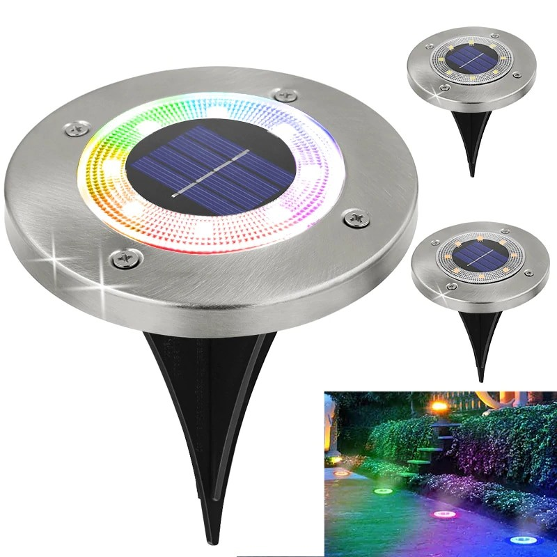 Round Shaped In Ground Solar Outdoor light with 8 LED and Infrared Light Sensor for Garden Pathway
