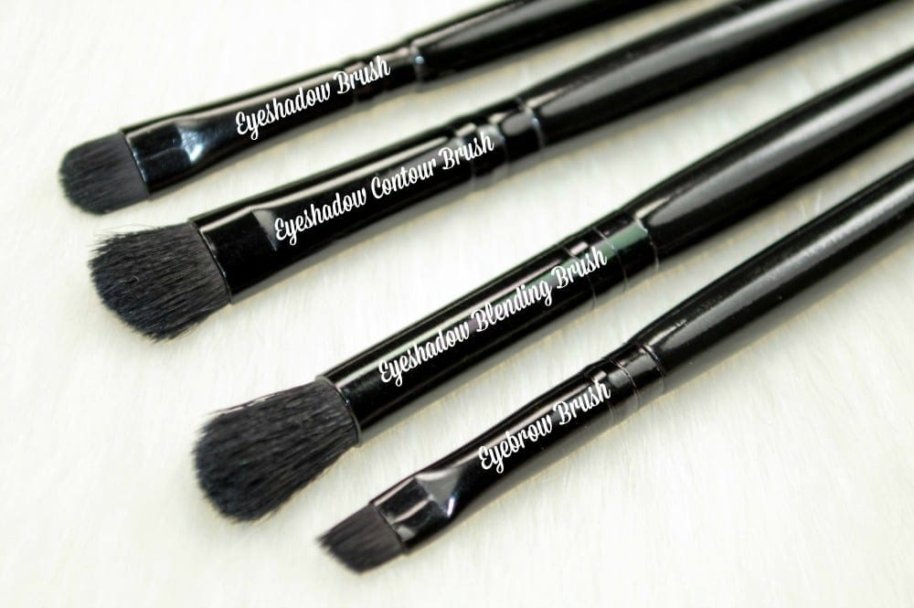 Close up image of the four eye brushes