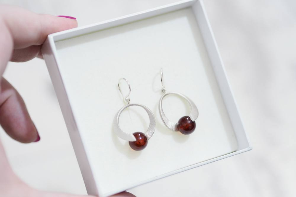 Filigree Street Sterling Silver Cherry Amber Sphere Earrings + GIVEAWAY!