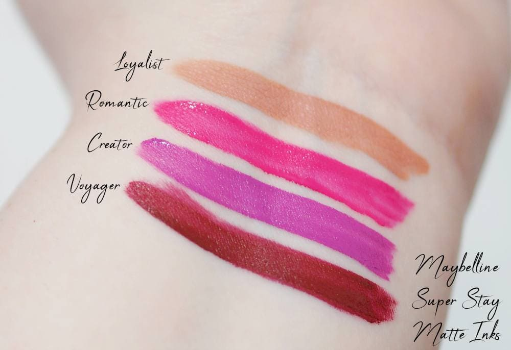 Maybelline Super Stay Matte Inks Review and Swatches - Loyalist, Voyager, Creator and Romantic