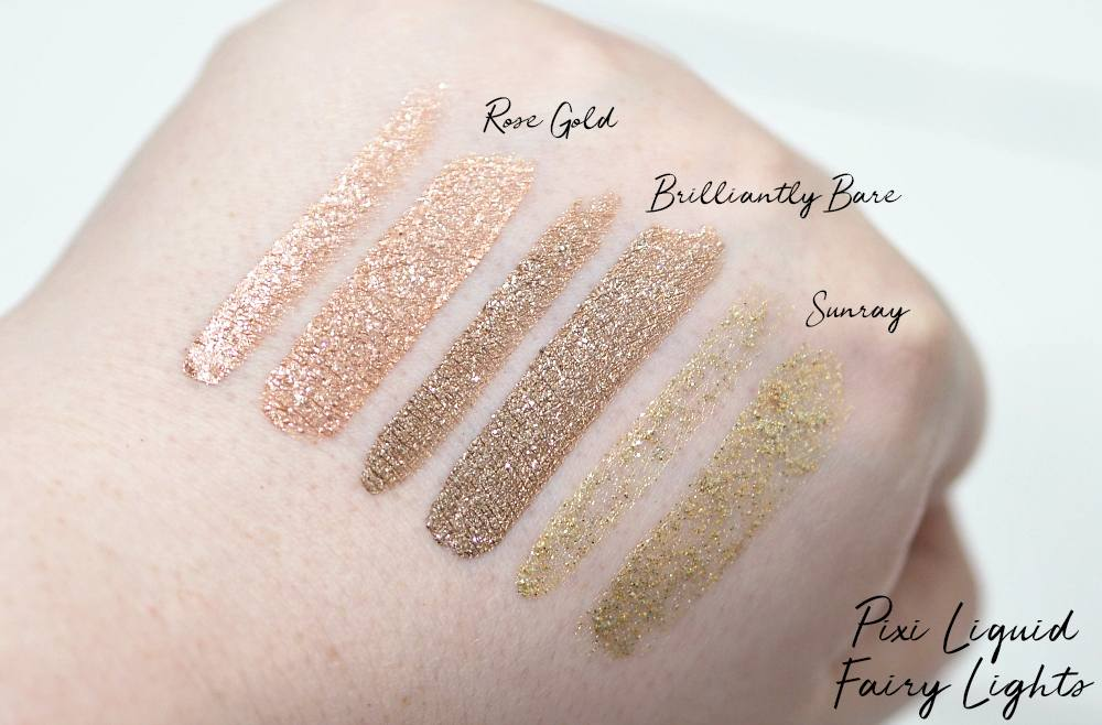 Pixi Liquid Fairy Lights Glitter Eyeshadows Review Swatches - Rose Gold, Brilliantly Bare and Sunray